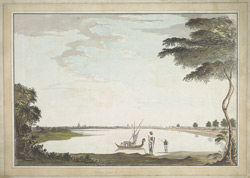 A distant view of Tanjore across a tank; a boat and two villagers in the foreground